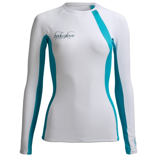 CLOSEOUTS . The trim-fitting, stretchy fabric of Body Gloveand#39;s High-Performance rash guard has a surf-ready design thatand#39;s anatomically shaped with non-restrictive raglan sleeves for optimum hang-ten enjoyment. Available Colors: DARK BERRY/PLUM, WHITE/BLUE, SILVER/LEMON GREEN. Sizes: L, M, S, XL, XS.