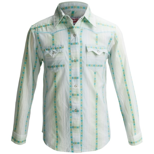 Roper Yarn-dyed Jacquard Stripe Western Shirt - Snap Front  Long Sleeve (for Girls)