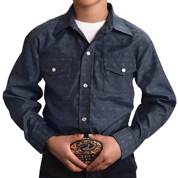Roper Classic Tone-on-Tone Abstract Western Shirt - Snap Front, Long Sleeve (For Boys)