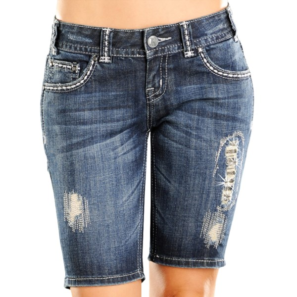 CLOSEOUTS . A summery Bermuda short cut with silver-embroidered patches, rhinestone back pockets and handstitched artistry, Rock andamp; Roll Cowgirland#39;s rhinestone distressed jean shorts set you apart from the warm-weather crowd. Available Colors: DARK WASH.