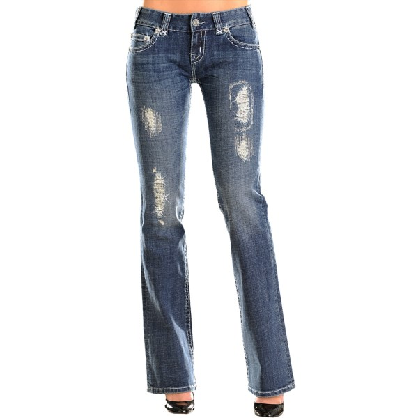 CLOSEOUTS . Worn-in style with a little peek-through razzle dazzle, Rock andamp; Roll Cowgirland#39;s Saddlestitch Distressed jeans feature a soft, vintage wash and silver-thread accent patches with rhinestone underlay. Available Colors: MEDIUM WASH.