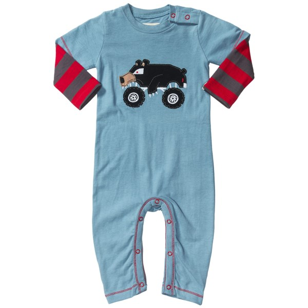 CLOSEOUTS . Perfect for sleep or play, Hatleyand#39;s cotton jersey 2-in-1 romper is made of soft, breathable cotton and integrates long, striped sleeves into the short sleeves for a layered look. Available Colors: ICE MONSTER, MONSTER TRUCKS, BEAR THE BUILDER. Sizes: 3/6M, 6/12M, 12/18M, 18/24M.