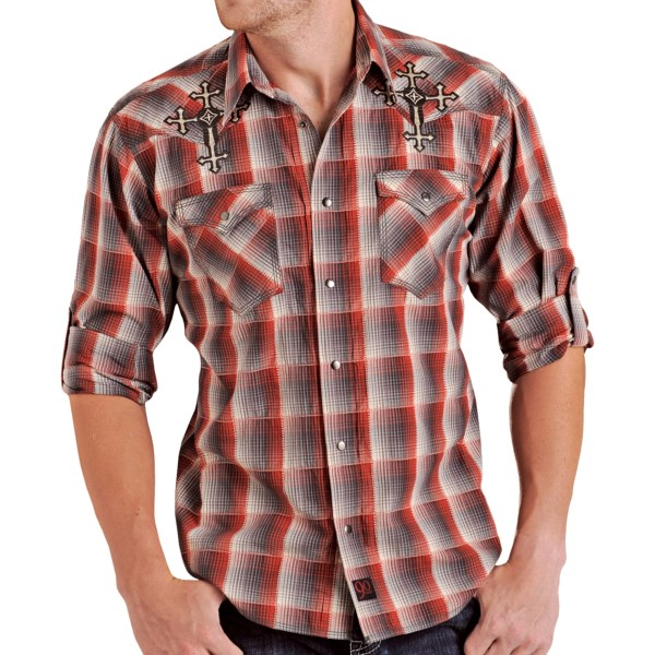 CLOSEOUTS . Ropes of raised color accentuate the windowpane effect on this dobby plaid shirt from Pandhandle Slimand#39;s 90 Proof collection. Beautiful cross embroidery and pewter-tone snaps. Available Colors: BLACK/RED. Sizes: S, M, L, XL, 2XL.