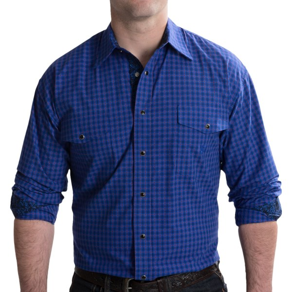 Panhandle Slim Contrast Check Shirt - Snap Front, Long Sleeve (For Men)