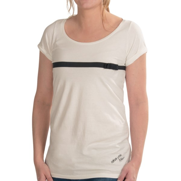 CLOSEOUTS . The bow-accented grosgrain ribbon lends a sweet, feminine touch to this artsy T-shirt from Maison Scotch, signed like an original canvas at lower left hem. Available Colors: DESSIN A. Sizes: P, 1, 2, 3, 4.