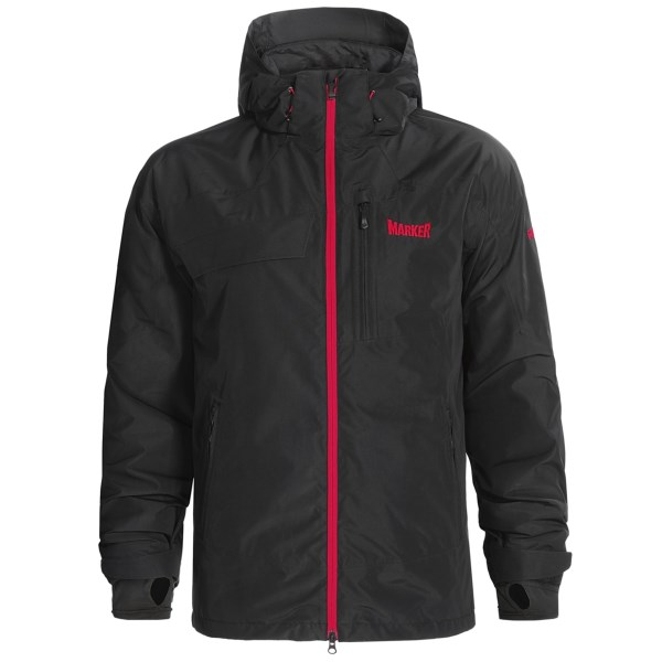 CLOSEOUTS . Designed to take on epic powder days and cold lift rides, Markerand#39;s Orbit jacket offers the dependable waterproof breathable protection of a Gore-Texand#174; membrane and fully seam-sealed construction. Plus, low-bulk insulation provides warmth, and pit zips offer cooling ventilation when you need it. Available Colors: BLACK, ORANGE, BLUE. Sizes: S, M, L, XL, 2XL.