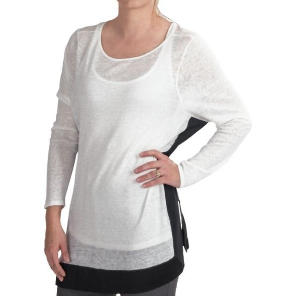 Paperwhite Sheer Drop-Shoulder Sweater (For Women)