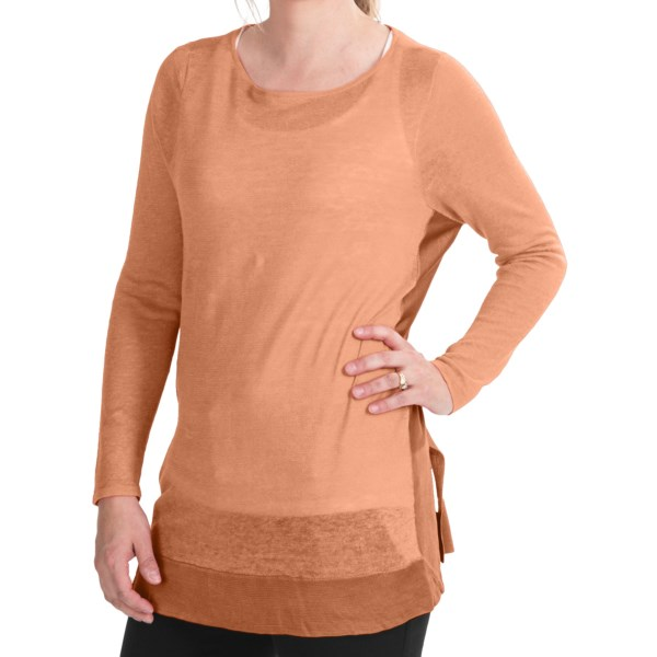 CLOSEOUTS . A beautiful layering piece in airy, flowing fabric, Paperwhiteand#39;s sheer drop-shoulder sweater is framed down each side and around the wide-slit hem with a contrasting knit. Available Colors: BLACK, CURACAO, LAGOON, WHITE, MELON, SHERBERT, DUNE, GUAVA. Sizes: XS, S, M, L, XL.