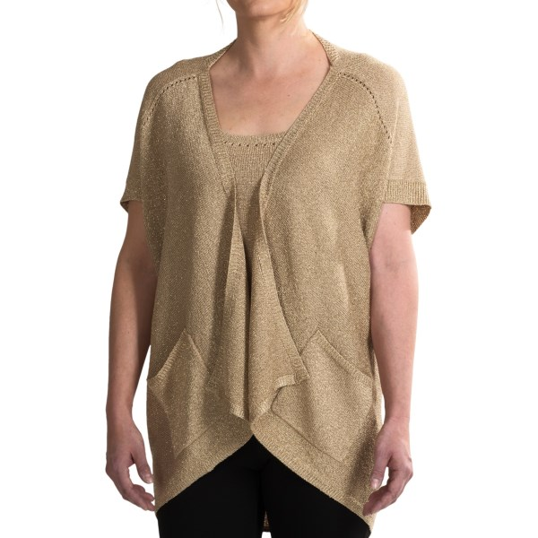 Paperwhite Lurex(r) Knit Cocoon Cardigan Sweater - 3/4 Sleeve (for Women)