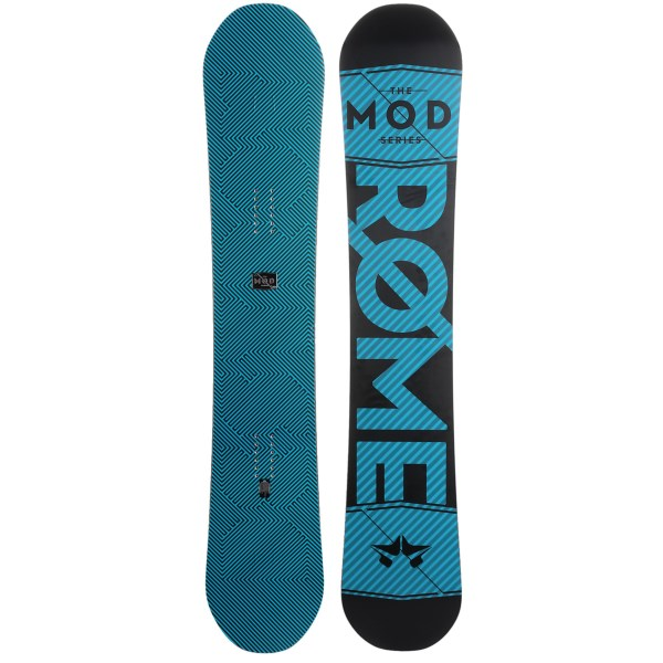CLOSEOUTS . A board that excels at hitting the big jumps, Rome Snowboardsand#39; Mod snowboard has pop for days and is ready to charge hard down the big hills and launch whatever obstacles present themselves. Available Colors: 156 GRAPHIC, 158 GRAPHIC, 160 GRAPHIC, 162 GRAPHIC, BLACK, ALOHA, 156 LIME W/BLACK LOGO, 156 BLACK W/LIME LOGO, 160 CARROT W/ BLACK LOGO, 160 BLACK W/CARROT LOGO, 158 GREEN W/BLACK LOGO, 158 BLACK W/GREEN LOGO, 162 BLUE W/BLACK LOGO, 162 BLACK W/BLUE LOGO.