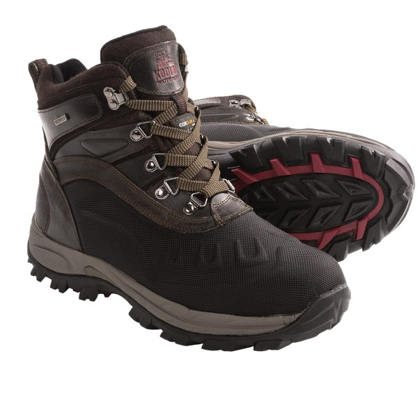 CLOSEOUTS . Demonstrate your self-reliance in the cold and snow with the waterproof breathable, insulated protection and outstanding traction of Kodiak Emerson winter pac boots. Available Colors: BROWN. Sizes: 8, 9, 10, 11, 12, 13.