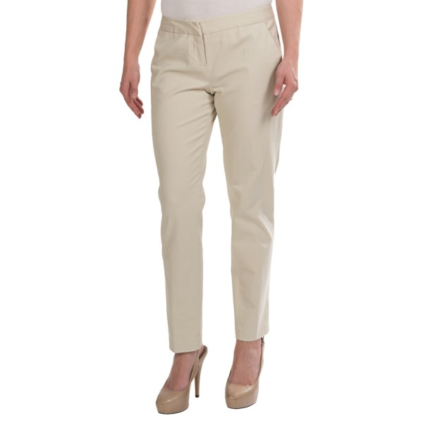 CLOSEOUTS . Even chinos get into the trim-cut act with the Amanda   Chelsea brand. These stretch cotton ankle pants have a narrow leg and low rise -- perfect for casual Fridays at the office or dressier weekend wear. Available Colors: OLIVE, STONE. Sizes: 2, 4, 6, 8, 10, 12, 14.