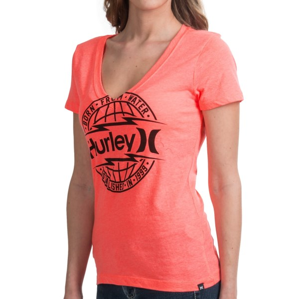 Hurley Global T-Shirt - V-Neck, Short Sleeve (For Women)