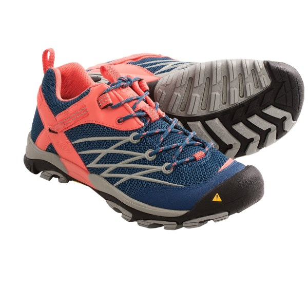 CLOSEOUTS . Lightweight, flexible and well-cushioned, Keen Marshall hiking shoes move effortlessly on a half-day hike and are so comfortable youand#39;ll wear them around town. Available Colors: GARGOYLE/NORSE BLUE, LEGION BLUE/HOT CORAL, RAVEN/SWEDISH BLUE, GARGOYLE/HOT CORAL. Sizes: 5, 5.5, 6, 6.5, 7, 7.5, 8, 8.5, 9, 9.5, 10, 10.5, 11.