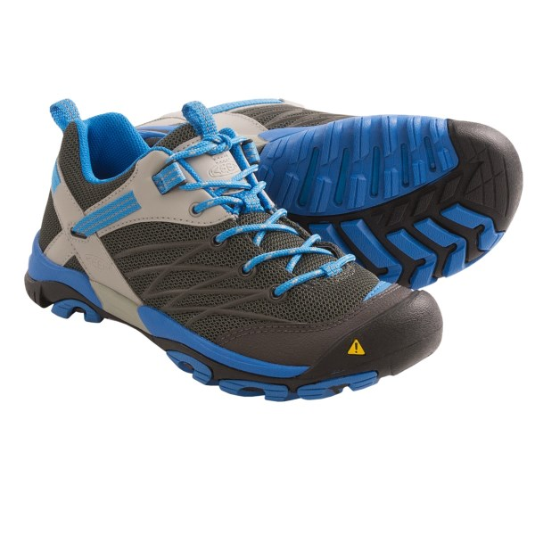 CLOSEOUTS . Lightweight, flexible and well-cushioned, Keen Marshall hiking shoes move effortlessly on a half-day hike and are so comfortable youand#39;ll wear them around town. Available Colors: GARGOYLE/NORSE BLUE, LEGION BLUE/HOT CORAL, RAVEN/SWEDISH BLUE, GARGOYLE/HOT CORAL, BALTIC/HOT CORAL, BLACK/HONEYSUCKLE, GARGOYLE/ALASKAN BLUE. Sizes: 5, 5.5, 6, 6.5, 7, 7.5, 8, 8.5, 9, 9.5, 10, 10.5, 11.