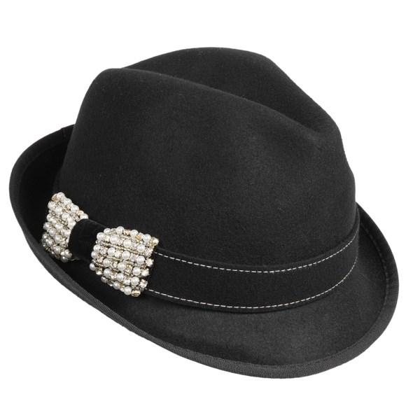Scala Sparkle Bow Fedora Hat - Wool Felt (For Women)