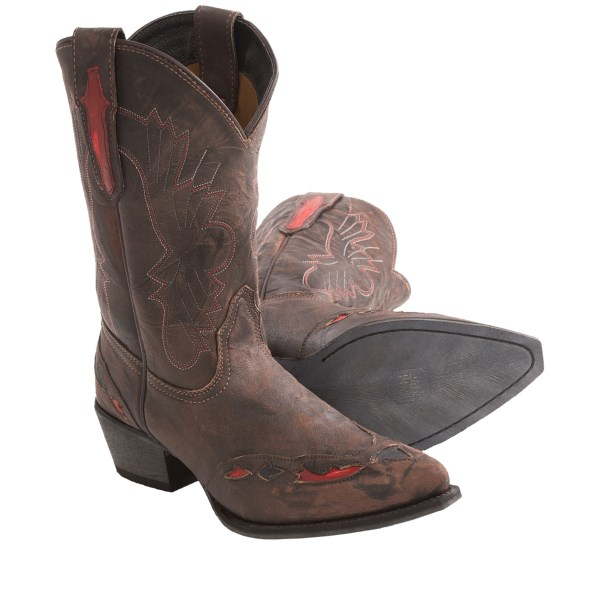 CLOSEOUTS . Young riders with a penchant for red will love Dan Postand#39;s Tribute Cowboy boot, a snip-toe model in vintage-finish leather with red and black cutouts and red stitching highlights on the shaft. Available Colors: NICOTINE. Sizes: 3.5, 4, 4.5, 5, 5.5, 6.