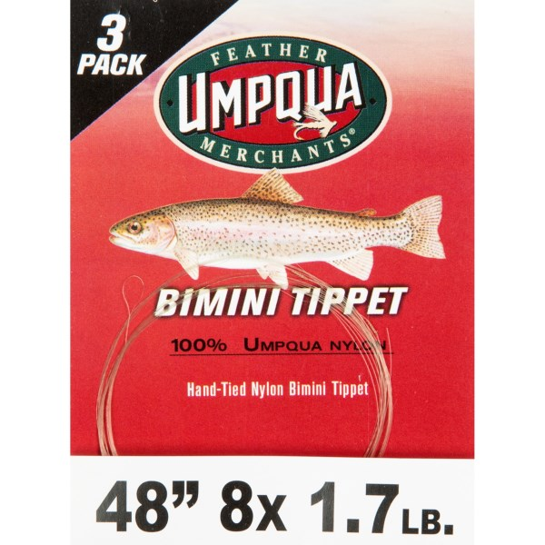 CLOSEOUTS . Ready-made and hand-tied, Umpqua Feather Merchantsand#39; Bimini nylon tippet helps you make quick tippet changes, and reduces the chance of losing big fish to hastily tied connections. Available Colors: SEE PHOTO. Sizes: 8X, 7X, 5X, 4X, 3X, 6X.