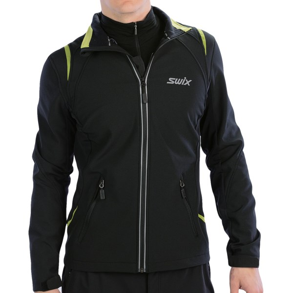 CLOSEOUTS . Swix Corvara II soft shell jacket features a unique, zip-up mesh panel along the front zip that allows you to increase ventilation without unzipping the jacket. Available Colors: BLACK. Sizes: L, M, S, XL.