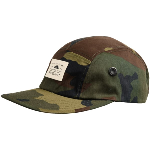 CLOSEOUTS . Comfort that doesnand#39;t sacrifice style in a fluffy suicide of shame, Spacecraft Collectiveand#39;s 5-Panel cap alters the cut of the ball cap to fit your noggin better, but doesnand#39;t make you look like Grandpa Joe. Available Colors: CAMO, BLACK. Sizes: O/S.