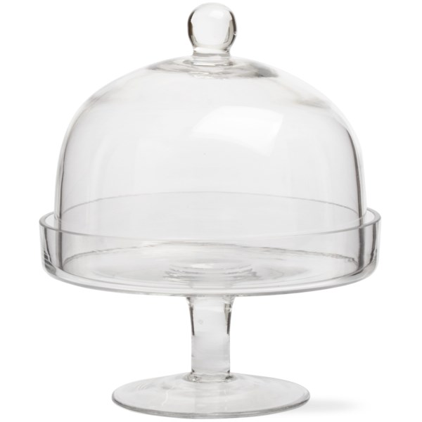 tag footed glass plate with dome - small