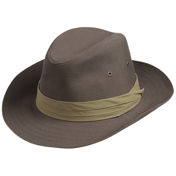 CLOSEOUTS . Sturdy woven twill and ventilating crown holes lend a safari-inspired style to San Diego Hat Company canvas fedora hat, a versatile, sun-shielding essential with a classic shape and slightly curved brim. Available Colors: OLIVE. Sizes: ONE SIZE.