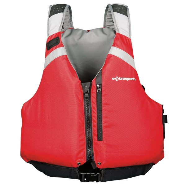 CLOSEOUTS . Extrasportand#39;s Riverine PFD life jacket offers no-nonsense protection and features the RetroGlide shoulder adjustment system that provides a comfortable fit for boaters of all types. Available Colors: RED/LIGHT GREY. Sizes: XS, S/M, L/XL, 2XL.
