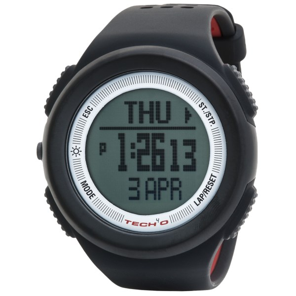 CLOSEOUTS . Built specifically for outdoor athletes who live to explore, Tech4oand#39;s Traileader One watch includes a wide range of helpful functions, including an altimeter, digital compass, barometer, thermometer and distance tracker. Available Colors: BLACK.