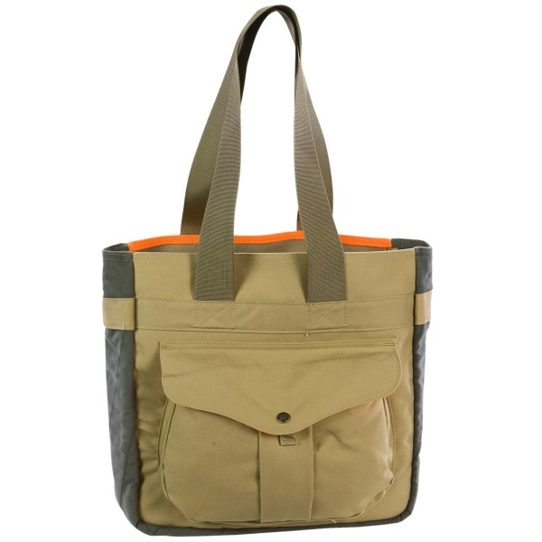 CLOSEOUTS . Made from dry finish tin cloth, Filsonand#39;s Mesh Game tote bag is rugged enough for use on hunting trips and sophisticated enough to carry around town. It has bellows and mesh exterior pockets and two interior pockets lined with soft moleskin. Available Colors: TAN/BLAZE ORANGE.