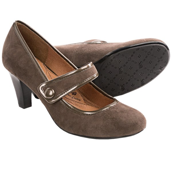 CLOSEOUTS . A soft suede upper with patent leather trim and a cute instep strap lend a classically sweet look to Sofftand#39;s Obella Mary Jane shoes, beautifully upgraded with a stacked heel. Available Colors: BLACK SUEDE, NIMBUS GREY SUEDE, BLACK SNAKE PRINT. Sizes: 6, 6.5, 7, 7.5, 8, 8.5, 9, 9.5, 10, 11.