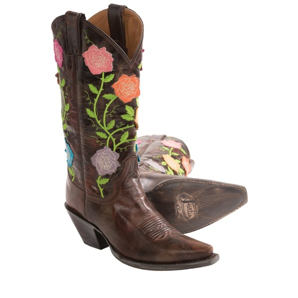 CLOSEOUTS . Justin Bootsand#39; Flowers calfskin cowboy boots take a traditional western boot silhouette and make it new with vibrant stitched-leather flowers and verdant shaft embroidery. Available Colors: MOLTEN TAWNY. Sizes: 5, 6.5, 7, 7.5, 8.5, 9, 9.5, 5.5.