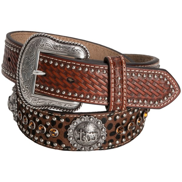 CLOSEOUTS . Cowboys who regularly converse with the Big Guy Upstairs will appreciate the sentiment of this Nocona Prayer Concho western belt, accented by silver-tone conchos depicting a cowboy and his horse in prayer. Available Colors: TAN.