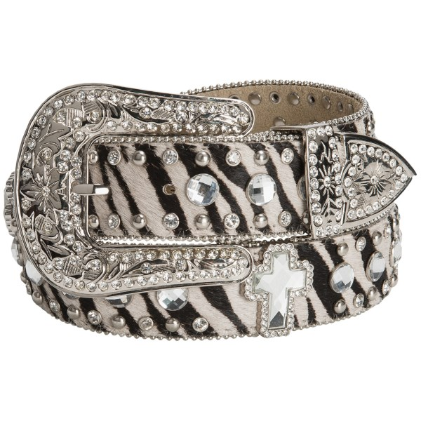 CLOSEOUTS . Stand-out style like youand#39;ve never seen it before, Noconaand#39;s Zebra Print Rhinestone belt features blingy crosses and studs atop a bold zebra-print calfskin hair strap. Available Colors: ZEBRA PRINT. Sizes: S, M, L, XL.