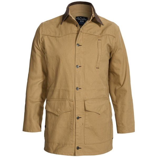 CLOSEOUTS . Tough enough for the ranch and the jobsite, Wallsand#39; Rinsed Cutter coat is made of cotton duck with snap side vents and a drawstring waist. Available Colors: CHAMOIS, CHOCOLATE. Sizes: L, 3XL, 2XL, M, XL.