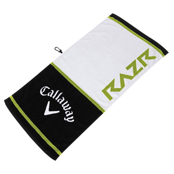 CLOSEOUTS . Callawayand#39;s Tour Authentic Razr towel is a high-absorption, 100% cotton towel with a carabiner clip attachment. Available Colors: WHTIE/BLACK/GREEN.