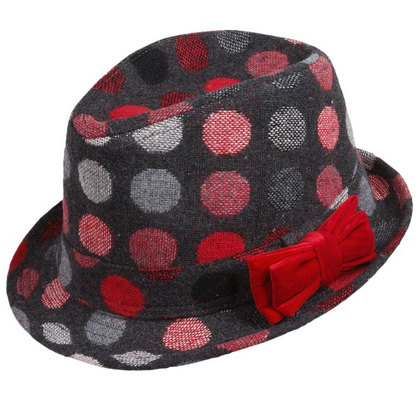 CLOSEOUTS . Colorful polka-dots adorn the soft, brushed wool-blend fibers of San Diego Hat Company polka-dot fedora hat, a cute addition to your little fashionistaand#39;s wardrobe with a classic silhouette. Available Colors: GREY. Sizes: M, 2/4Y.