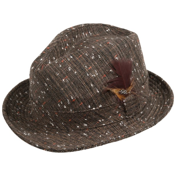 CLOSEOUTS . A classic fedora silhouette with eye-catching details inspired by retro menswear, San Diego Hat Company specked tweed fedora hat is an instant fashion statement. Available Colors: BROWN, BLACK. Sizes: O/S.