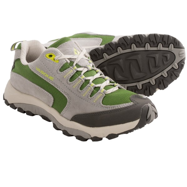 CLOSEOUTS . Vasqueand#39;s Venturist trail shoes offer sturdy, protective agility and the low-profile, flexible design of a trail runner. The breathable upper provides instant cooling, and the lugged outsole grips onto rocky, slick or loose terrain like a pro. Available Colors: NEUTRAL GREY/TENDER SHOOTS. Sizes: 6, 6.5, 7, 7.5, 8, 8.5, 9, 9.5, 10, 10.5, 11.