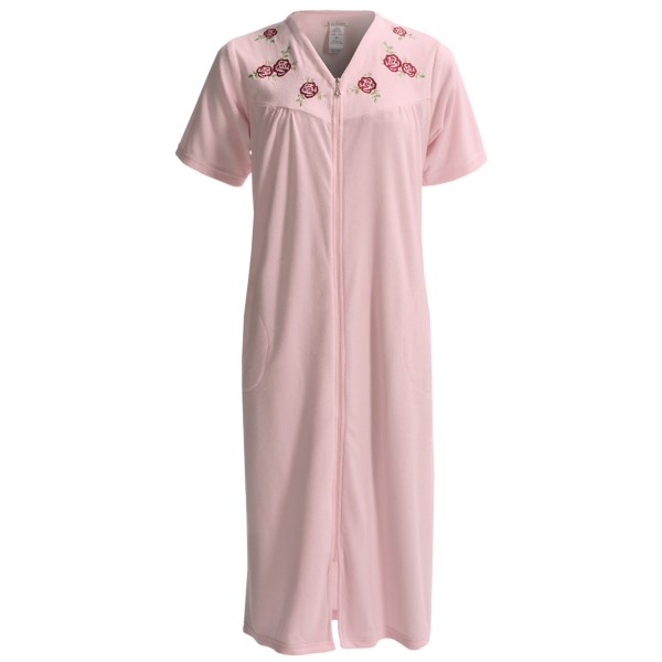 KayAnna Knit Terry Robe - Zip Front, Short Sleeve (For Plus Size Women)