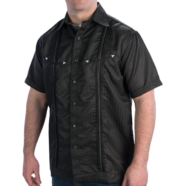 CLOSEOUTS . Prove just how nicely you clean up in Rancho Estanciaand#39;s Rancho Black shirt, highlighted by tonal stripes, contrast zigzag stitching, and eye-catching iridescent snaps. Available Colors: RANCHO BLACK. Sizes: 2X, L, M, S, XL.