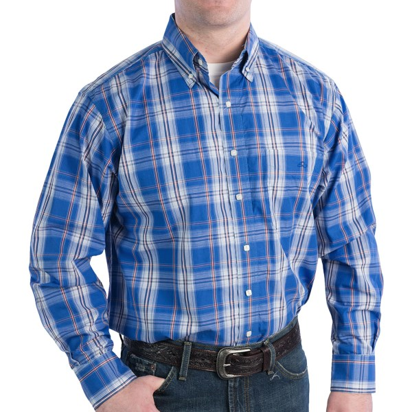 CLOSEOUTS . A rich blue plaid pattern gives Resistoland#39;s Ranch running Blue shirt a fresh, handsome appeal. The crisp, lightweight cotton fabric is perfect for warm weather. Available Colors: RUNNING BLUE. Sizes: 2X, L, M, S, XL.