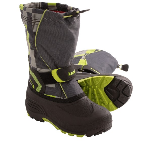 CLOSEOUTS . Kamikand#39;s Snowbank2 winter boots have a comfort rating of -40and#176;F, sealed seams and lightweight, waterproof rubber feet. You know their hearts are ready for the white stuff all season long; now their feet will ready when the snow starts to fly. Available Colors: CHARCOAL, NAVY/PINK, CHARCOAL/ORANGE, BLUE, NAVY. Sizes: 8, 9, 10, 11, 12, 13.