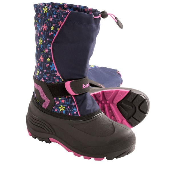 CLOSEOUTS . Kamikand#39;s Snowbank2 snow boots have a comfort rating of -40and#176;F, sealed seams and lightweight, waterproof rubber feet. You know their hearts are ready for the white stuff all season long; now their feet will ready when the snow starts to fly. Available Colors: CHARCOAL, NAVY/PINK, CHARCOAL/ORANGE, BLUE, NAVY. Sizes: 8, 9, 10, 11, 12, 13.