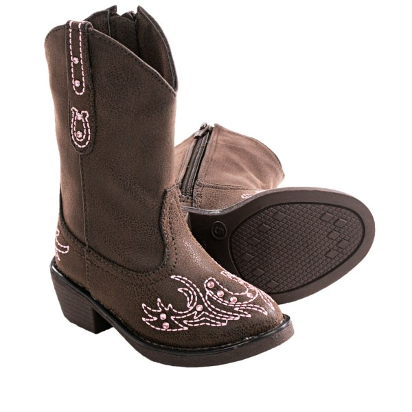CLOSEOUTS . Sweet little boots for the smallest cowgirls, Roperand#39;s Rhinestone western boots pair pretty pink gems with equally bubblegum-hued contrast stitching accents. Available Colors: BROWN. Sizes: 5, 6, 7, 8.