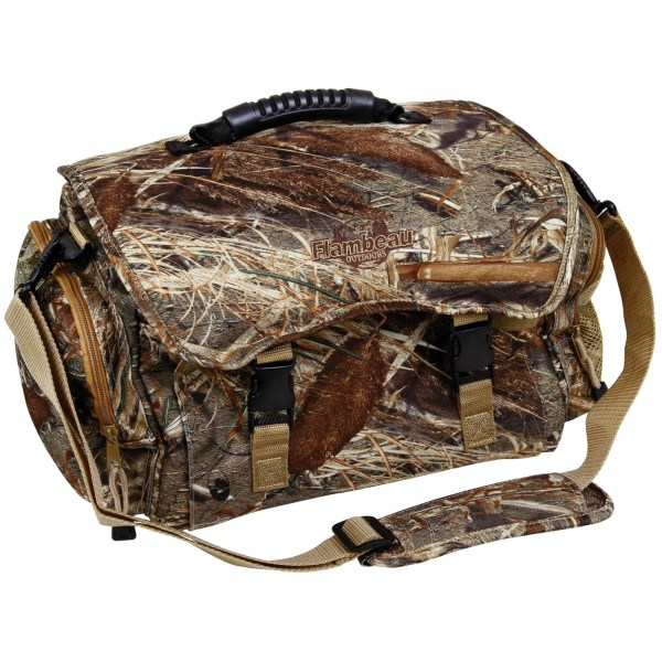 CLOSEOUTS . Flambeauand#39;s floating blind bag provides plenty of organized space to haul everything you need to the blind, with rugged 900 denier polyester construction that has multiple easy-access pockets throughout. Available Colors: MOSSY OAK DUCKBLIND.