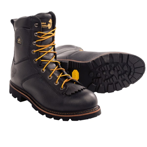 CLOSEOUTS . Golden Retrieverand#39;s Firefighter Spec boots are prepared to take on any challenge, thanks to a durable, waterproof breathable leather upper with a stabilizing, cushioned insole and lugged Vibramand#174; outsole. Available Colors: BLACK. Sizes: 7, 8, 8.5, 9, 9.5, 10, 10.5, 11, 11.5, 12, 13, 14, 13.5.