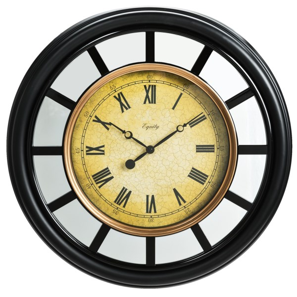 Overstock . A striking piece of traditional decor for an entryway or great room, this 22andquot; mirror clock from Equity by La Crosse Technology features an antiqued dial with Roman numerals, gold-tone inner rim, and paneled mirrors encircling the frame. Available Colors: BLACK.