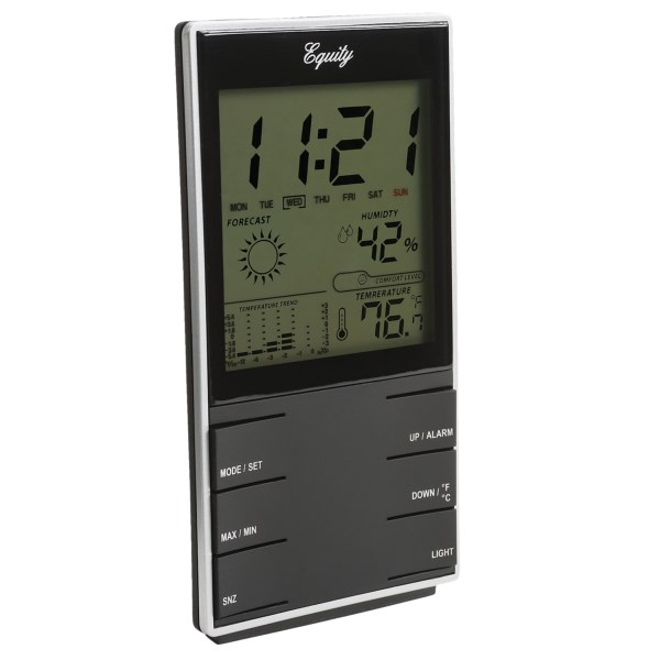 Overstock . Equity by La Crosse Technologyand#39;s desktop weather station works double time as an indoor weather station and an alarm clock. The multi-faceted digital display includes indoor temperature and humidity, a temperature trend graph, and a digital clock with a snooze alarm and calender. Available Colors: SEE PHOTO.
