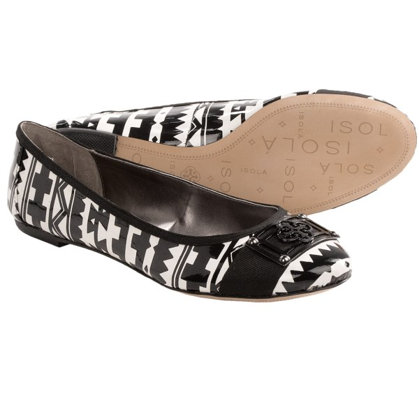 CLOSEOUTS . Isolaand#39;s Britt II ballet flats feature a dazzlingly colorful iridescent upper with a lovely low-profile silhouette and leopard print underlay for a hint of exotic charm. Available Colors: GOLD CORK FOIL, BLACK GLITTER, VIOLA, BLACK/WHITE TRIBAL PRINT PATENT. Sizes: 5, 5.5, 6, 6.5, 7, 7.5, 8, 8.5, 9, 9.5, 10, 11, 12.
