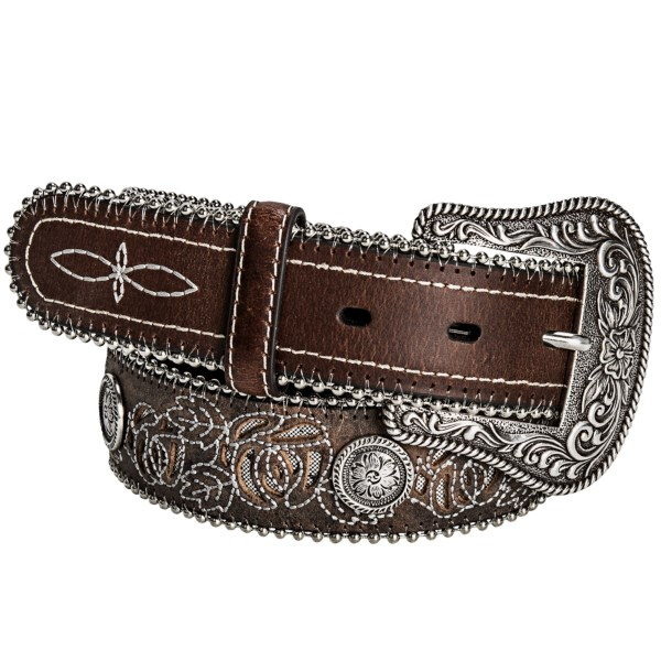 CLOSEOUTS . Roperand#39;s rose inlay belt features beautifully feminine details in a vintage-inspired look thatand#39;s stunningly unique. Silvery inlay fabric is displayed in a floral cutout design, and pretty embossed conchos lend an eye-catching appeal. Available Colors: BROWN. Sizes: S, M, L, XL, 2XL.